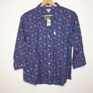 L.L.Bean wrinkle free shirt blue red floral large